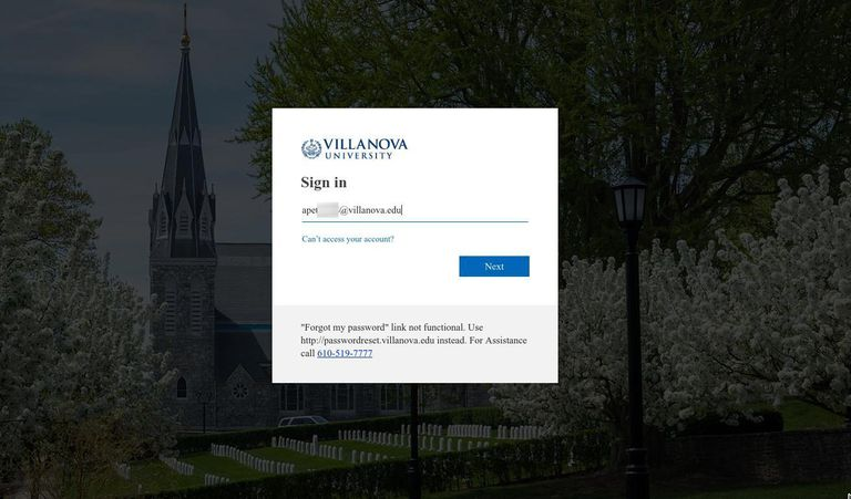 Logging into Villanova University web email