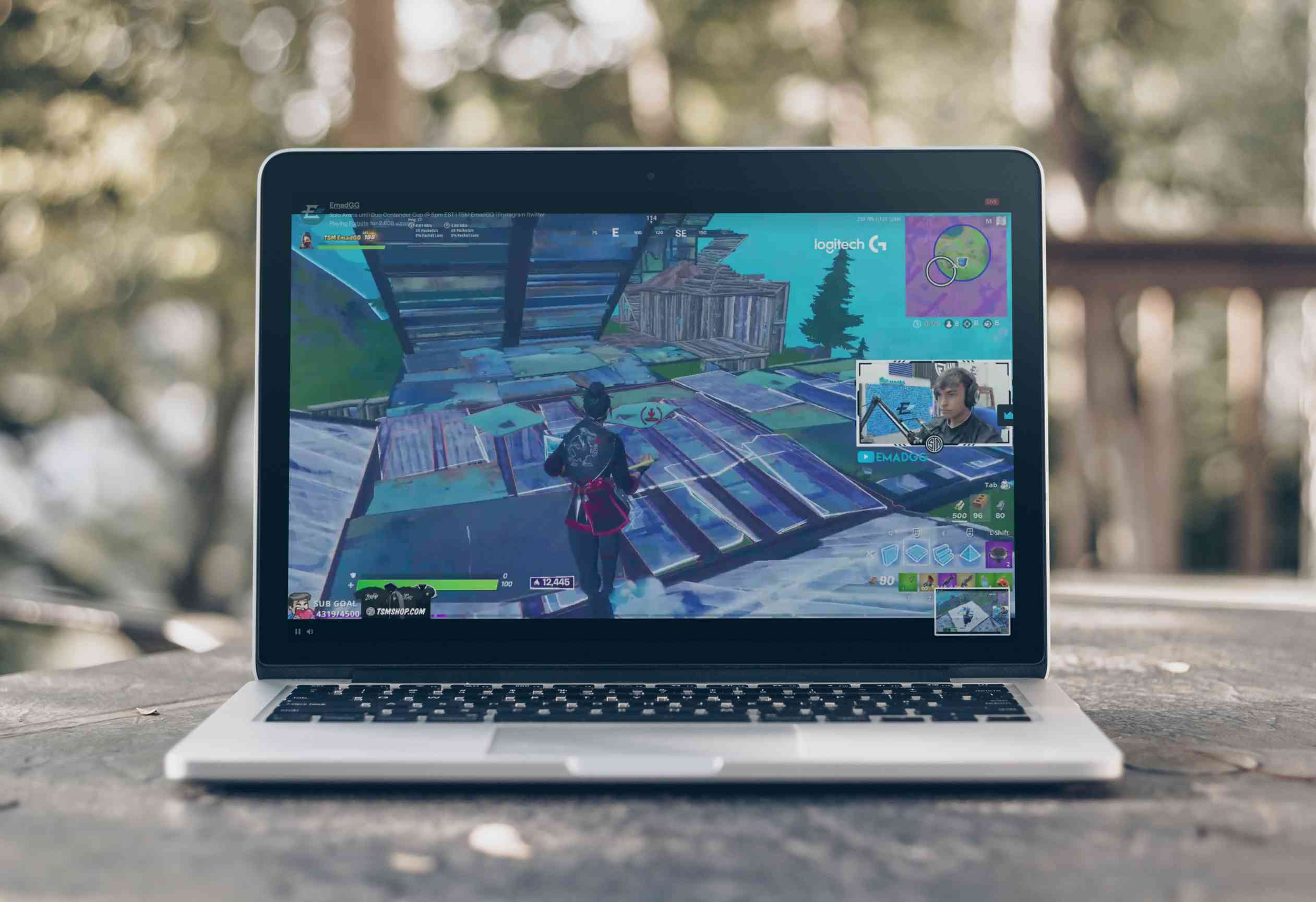 Laptop showing Fortnite streaming on Twitch