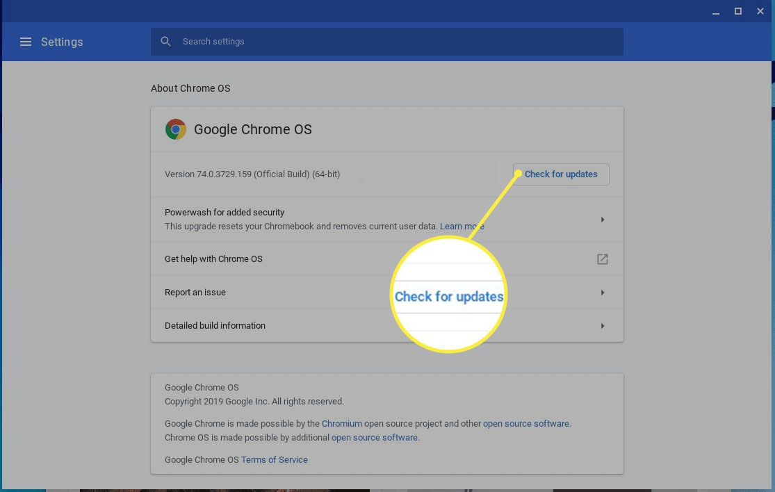 About Chrome OS screen