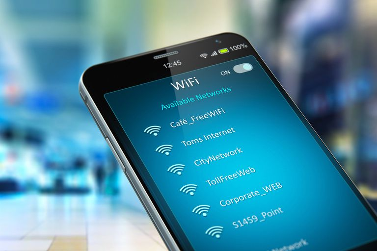 Smartphone showing wifi networks.