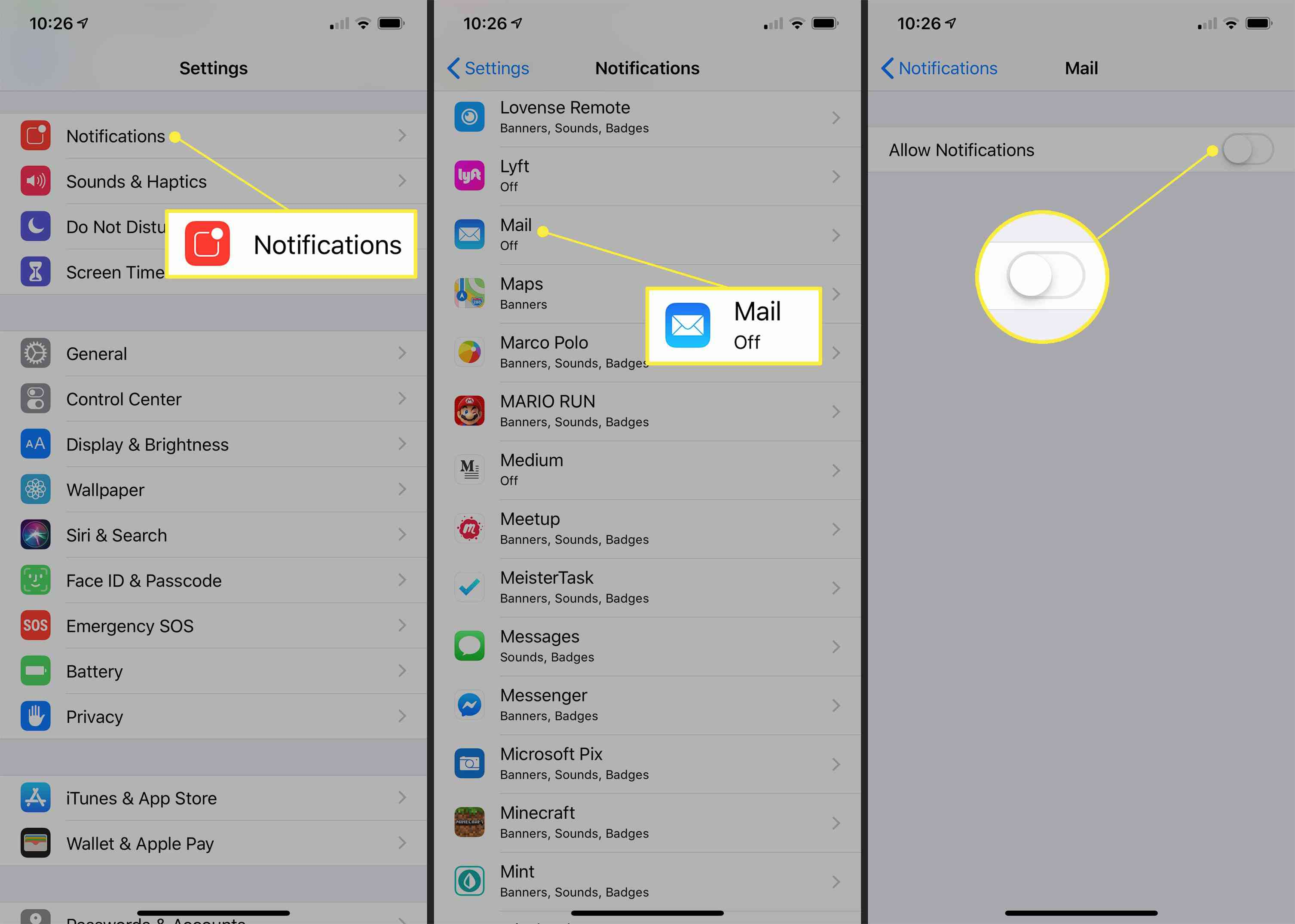Notifications, Mail, and Allow Notifications toggle to OFF in iOS Settings