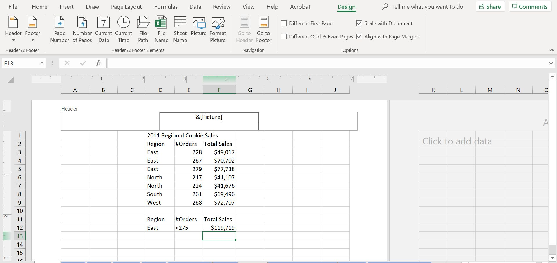 Picture code in header of Excel sheet.