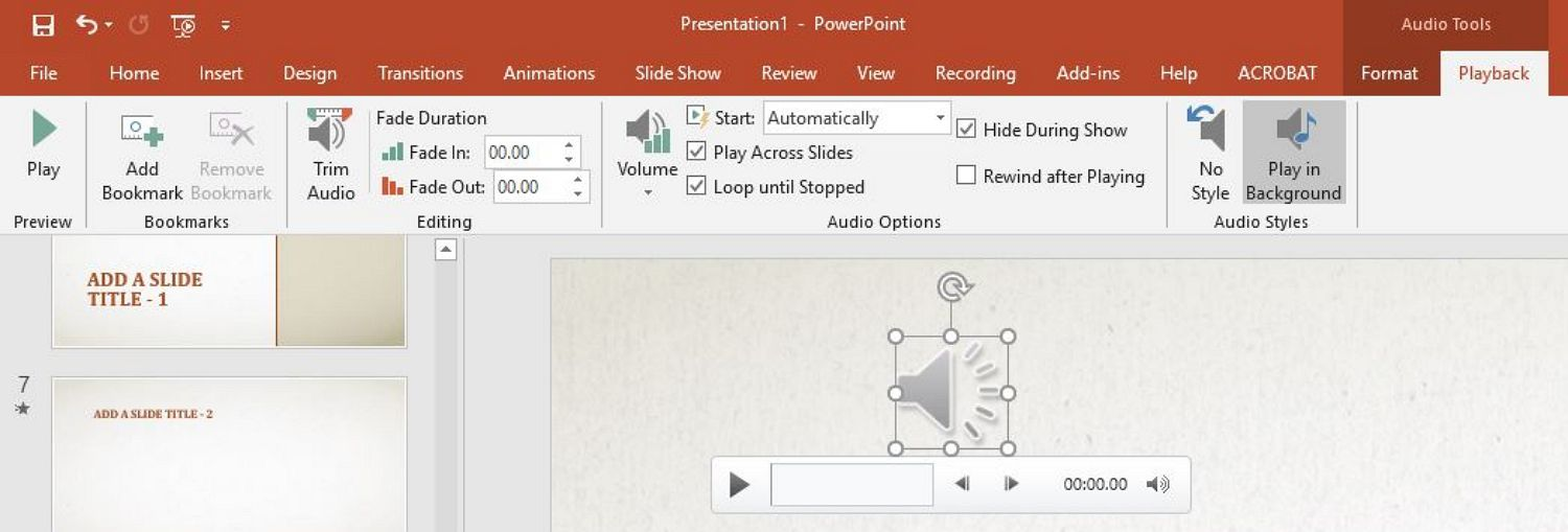 powerpoint play audio in background