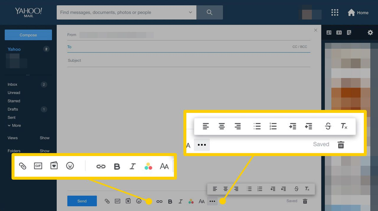 Rich Text tools in Yahoo Mail