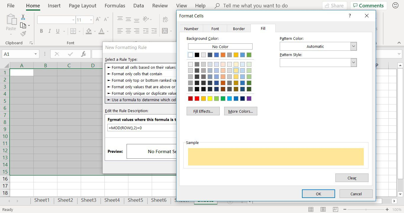 How to apply a color to a conditional formatting rule in Excel
