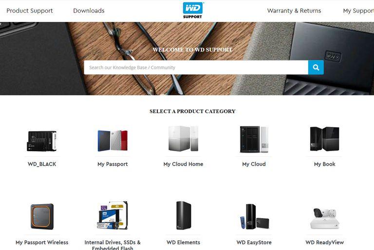 WD support screenshot