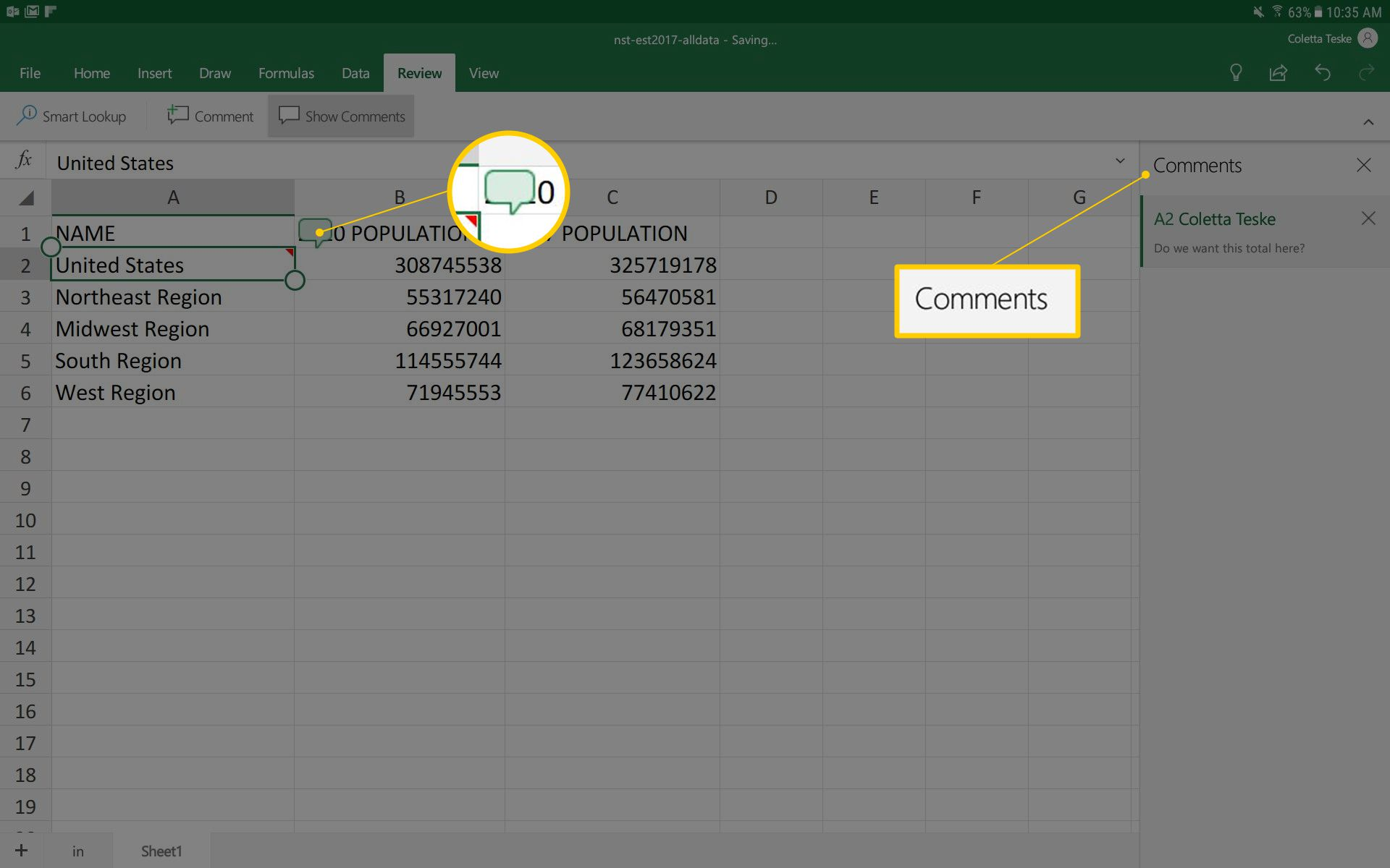 A screenshot showing how to make a comment in an Excel for Android spreadsheet