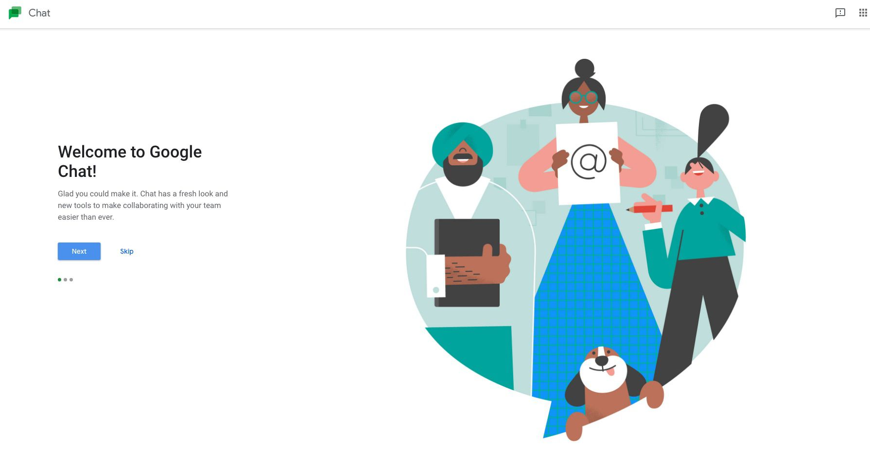 Google Chat welcome page