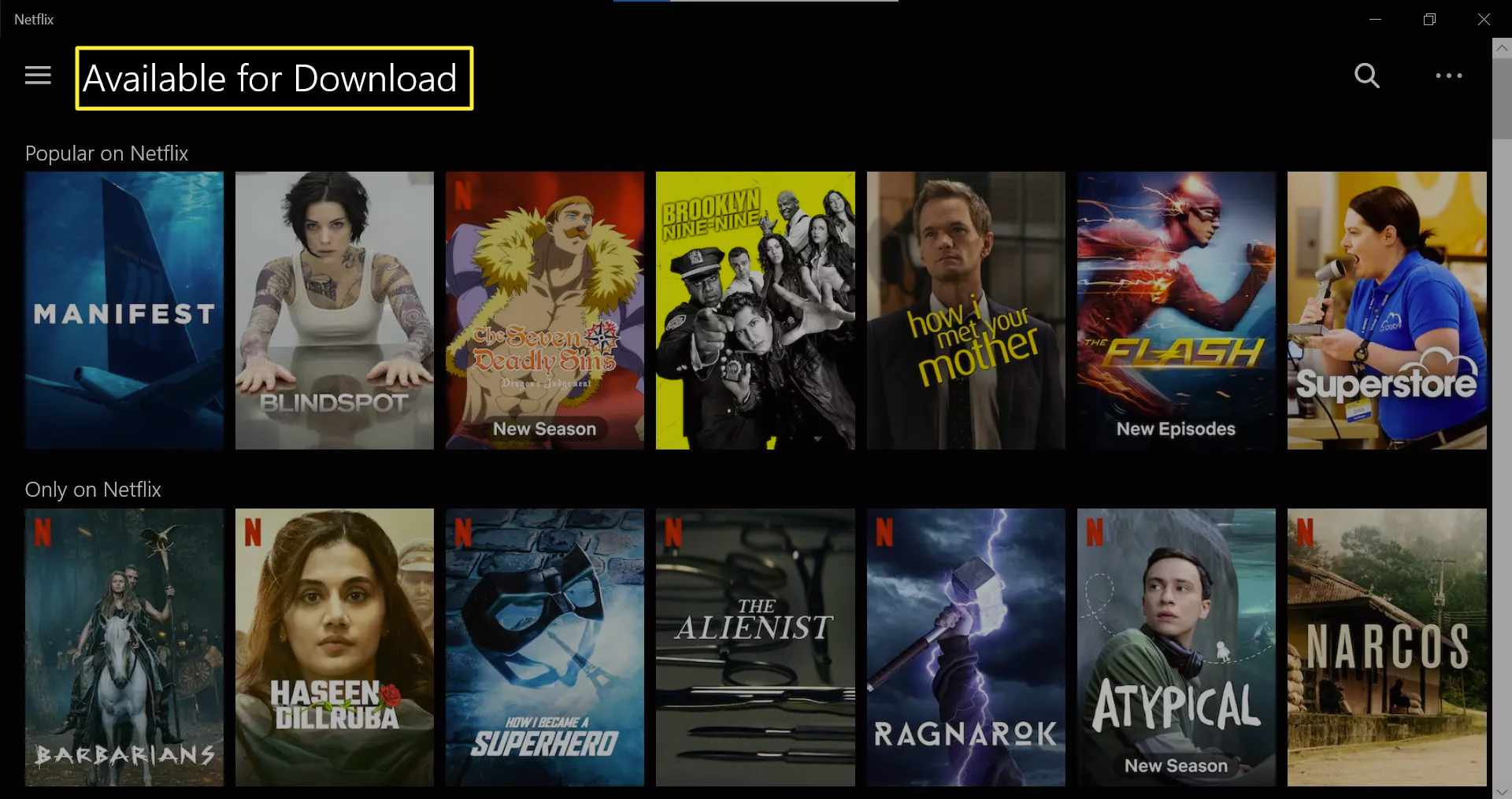 Available for Download menu in Netflix Windows app.