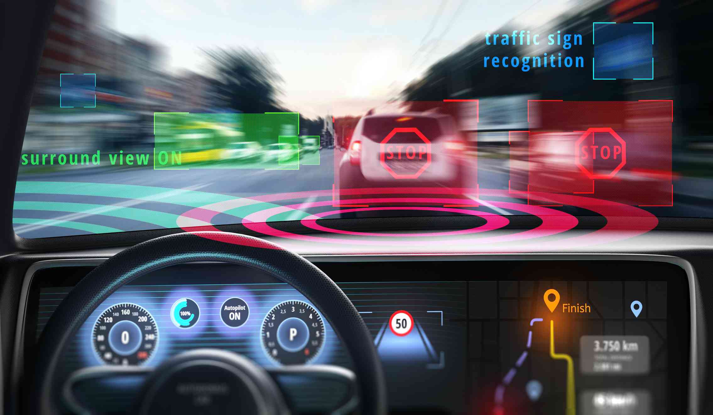 The view from the drivers seat of a car with digital information displayed on the windshield.