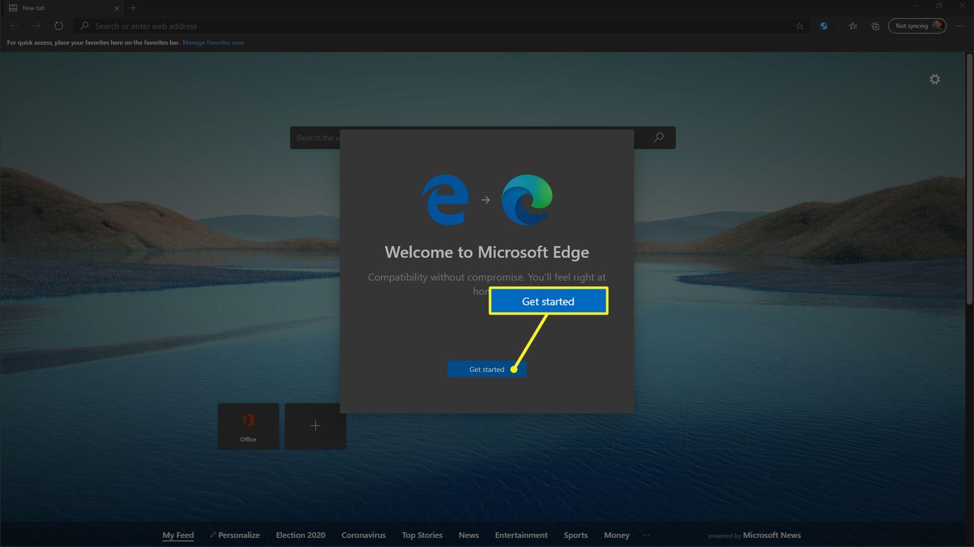 Initial Chromium Edge setup screen