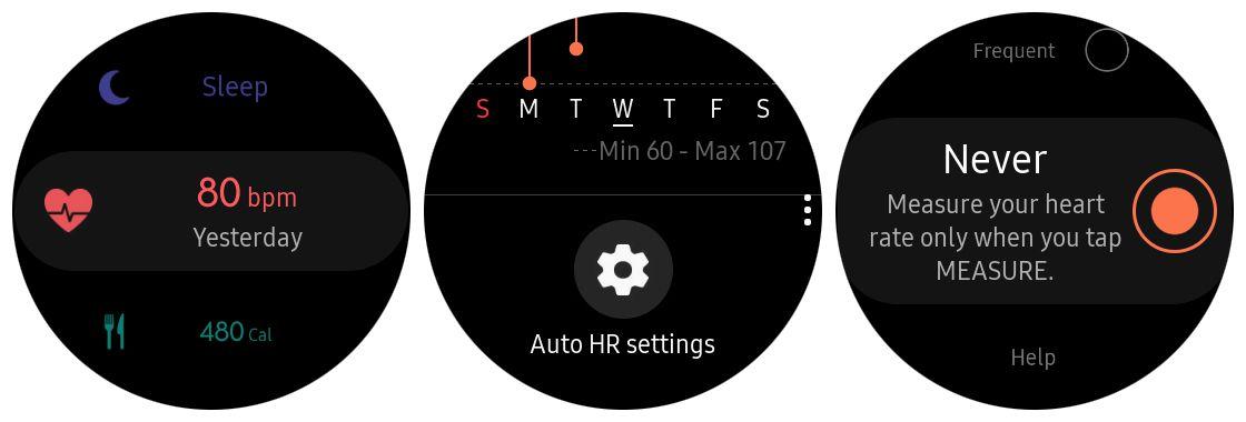 Screenshot of disabling Auto HR on Samsung Gear S3