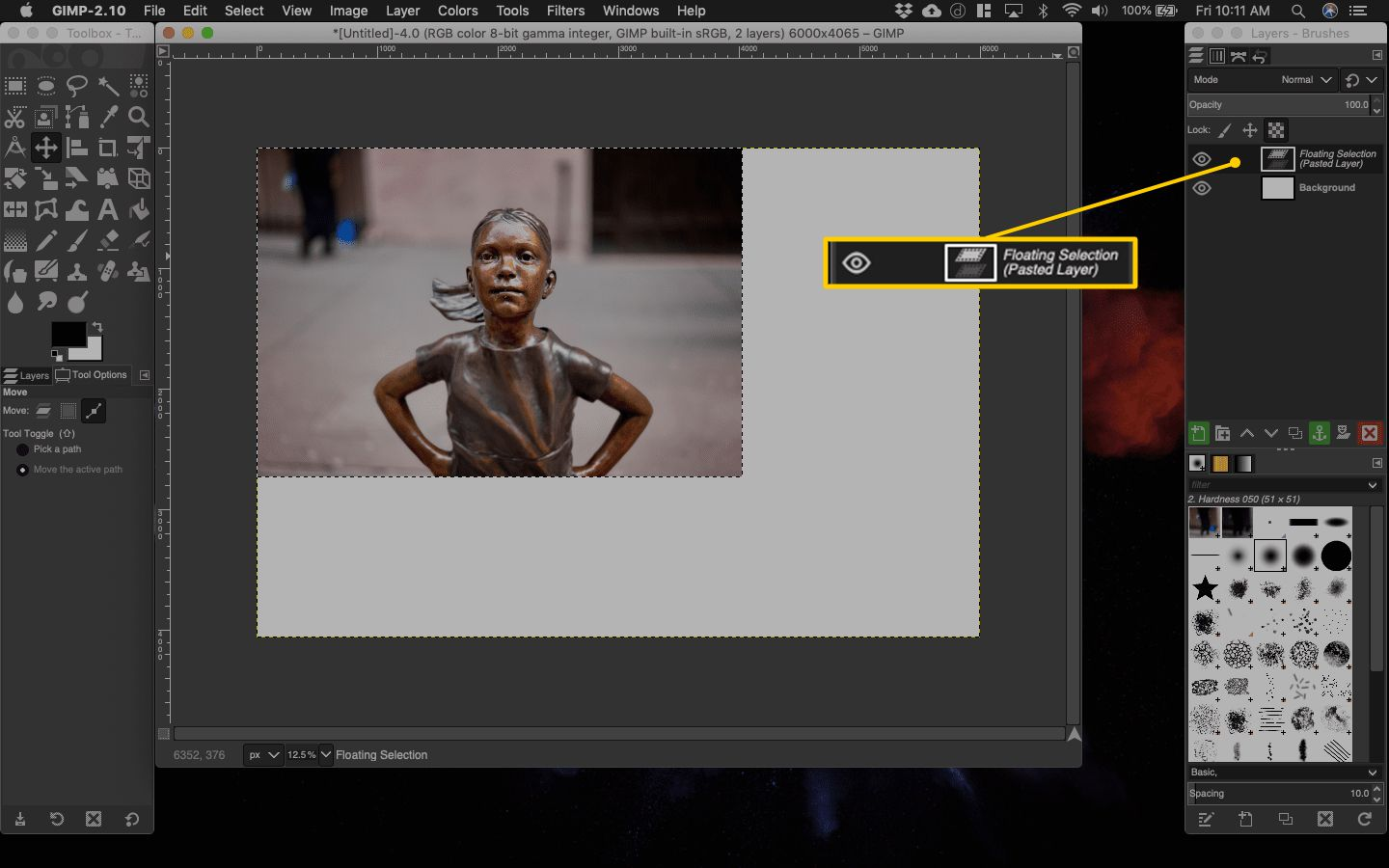 Pasted Layer in Gimp for macOS