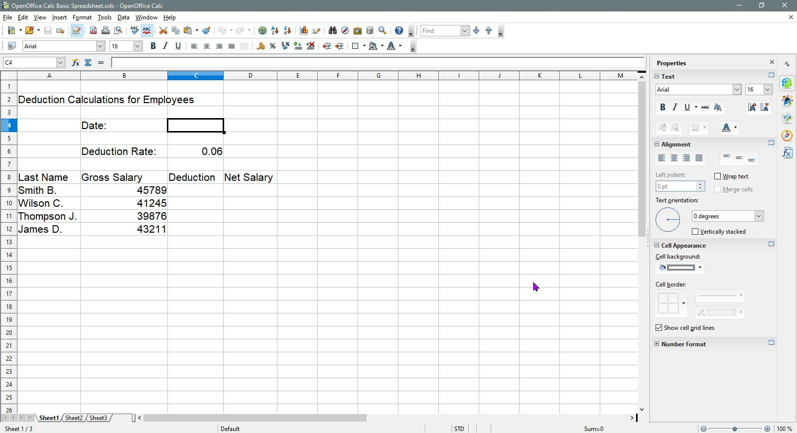 Cell C4 is selected in OpenOffice Calc.