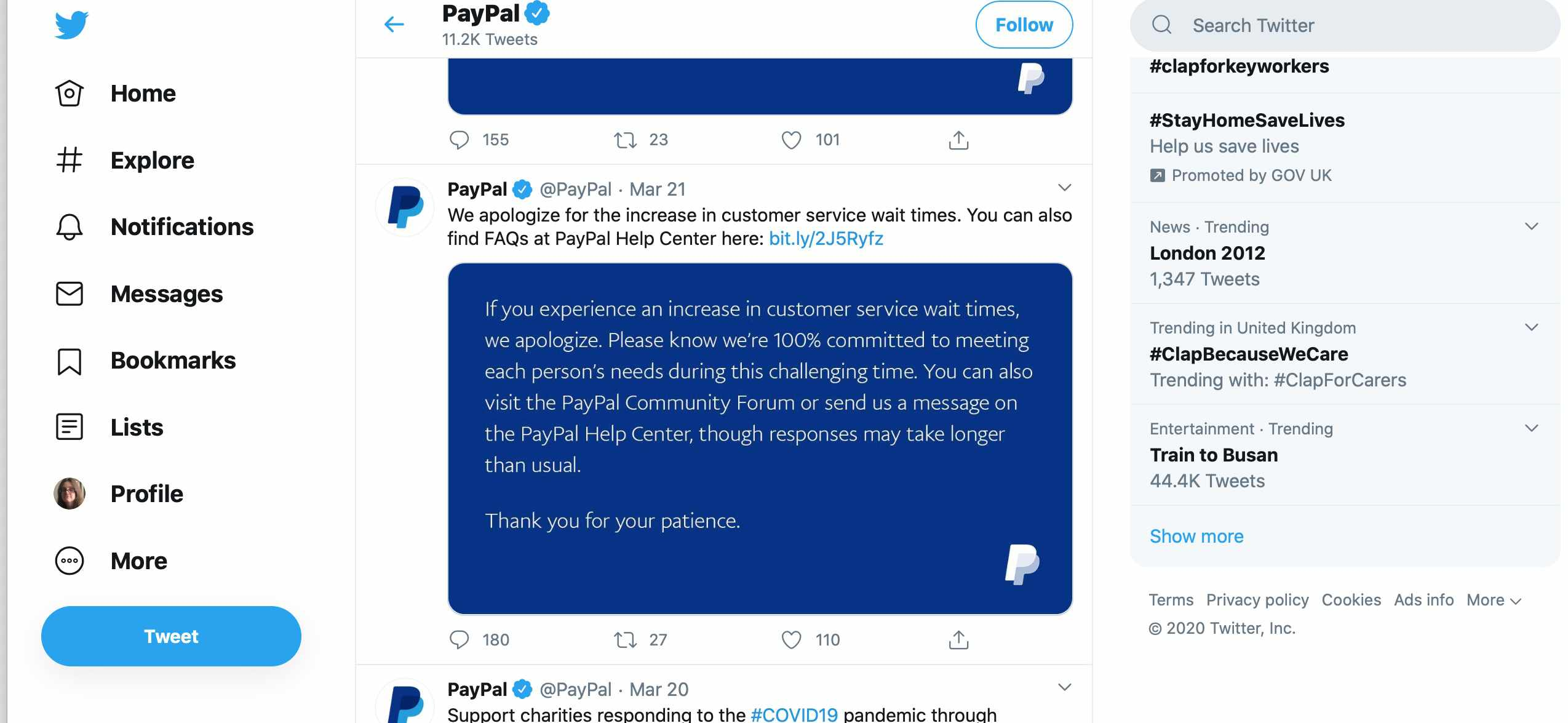 Paypal Twitter account