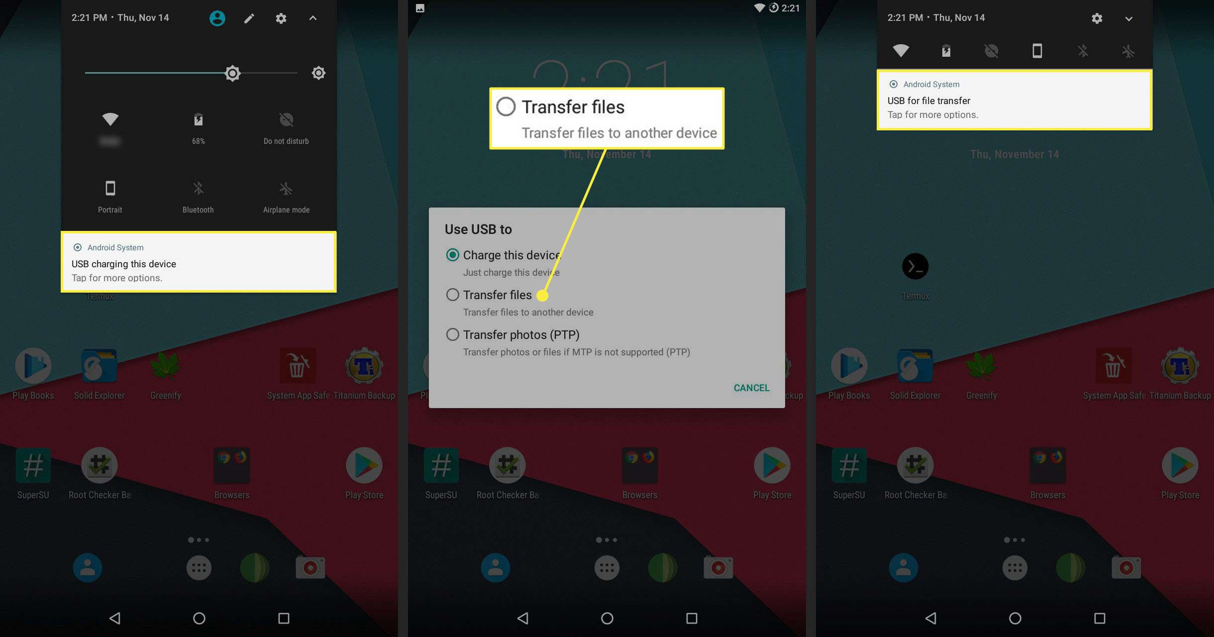 Android USB transfer files