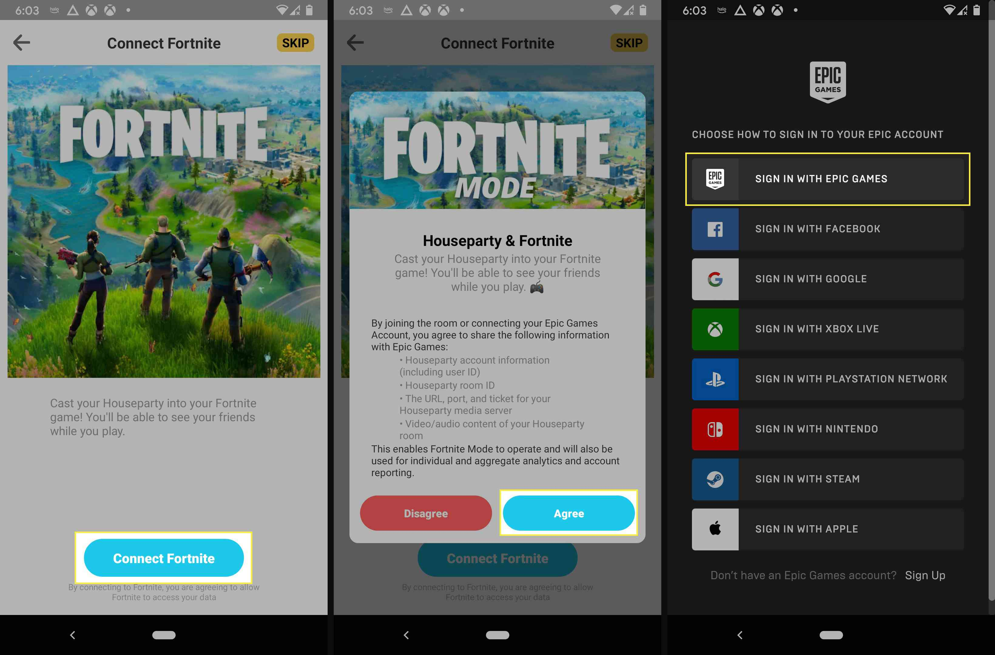 Connecting Fornite to Houseparty with your Epic Games account.