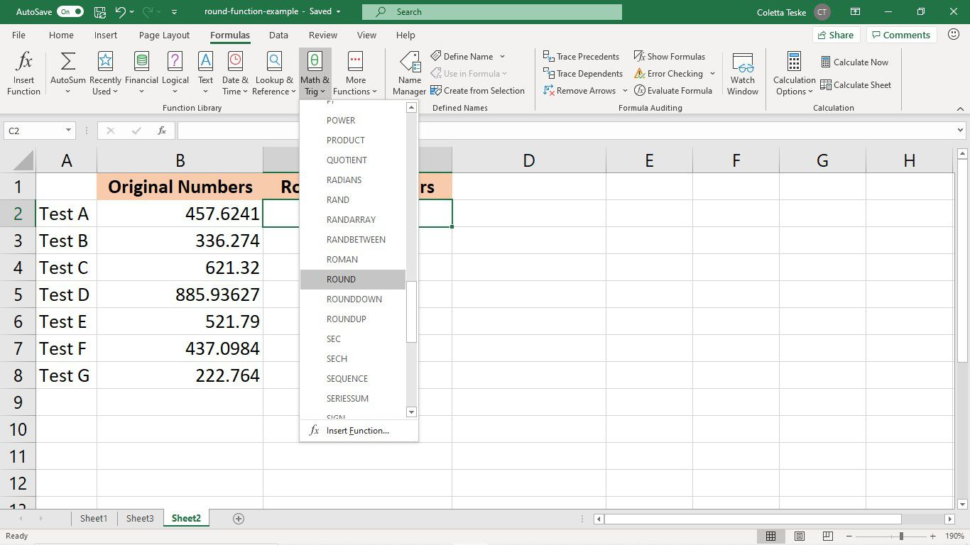 The Formulas tab in Excel with the ROUND function selected