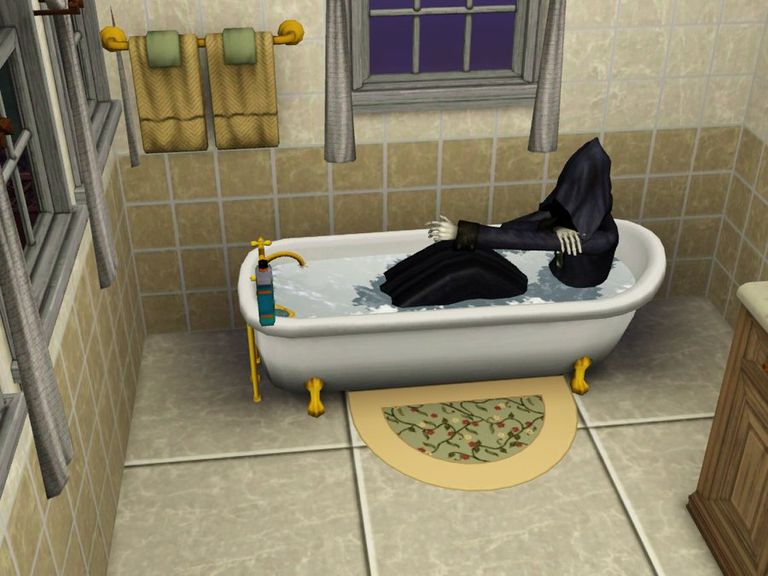 The Grim Reaper sim takes a break in a bathtub
