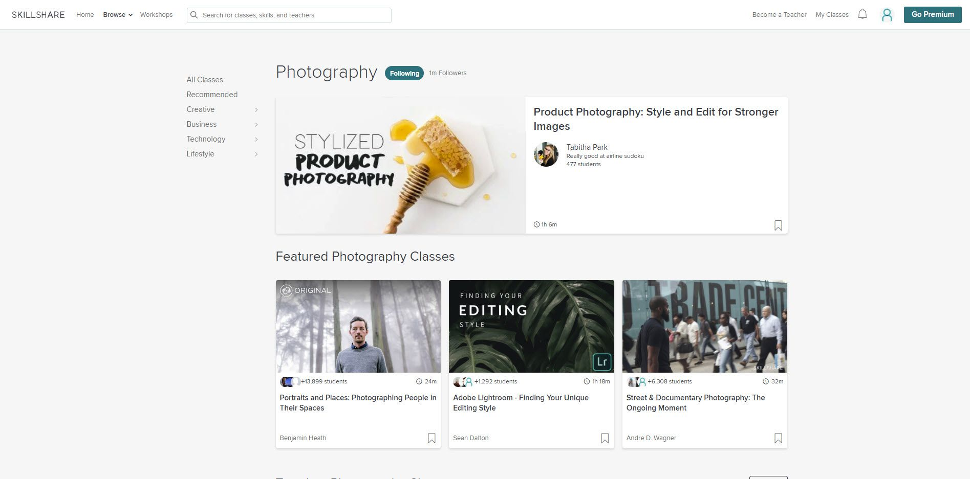 They SkillShare website with specialized photography classes.
