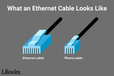 Illustration showing an ethernet cable and a phone cable side-by-side