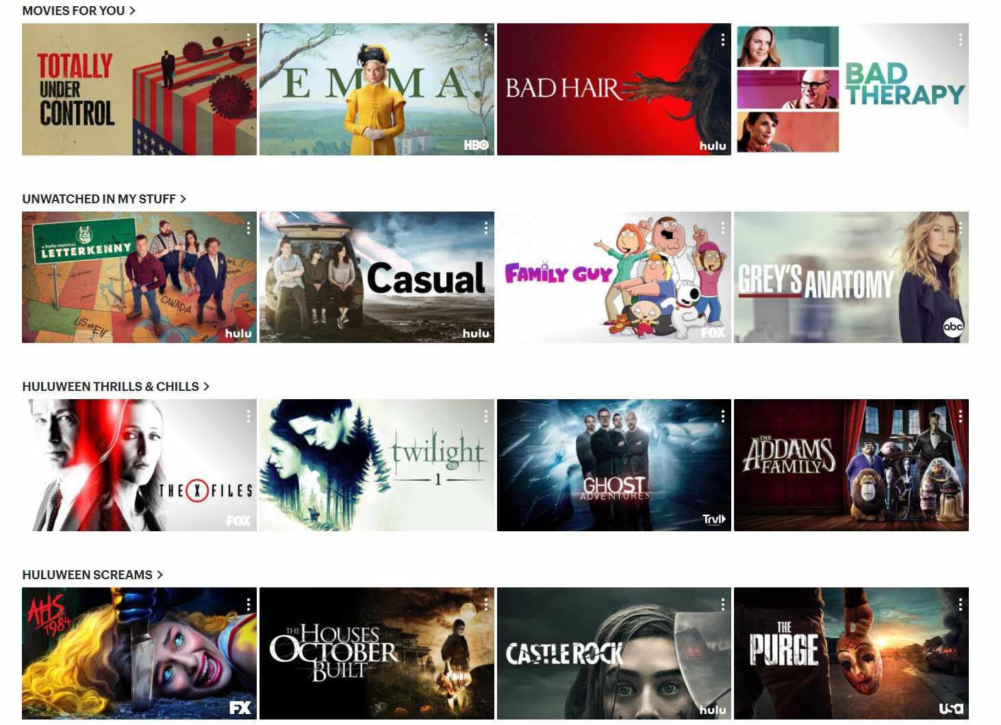 Hulu's homepage on a computer