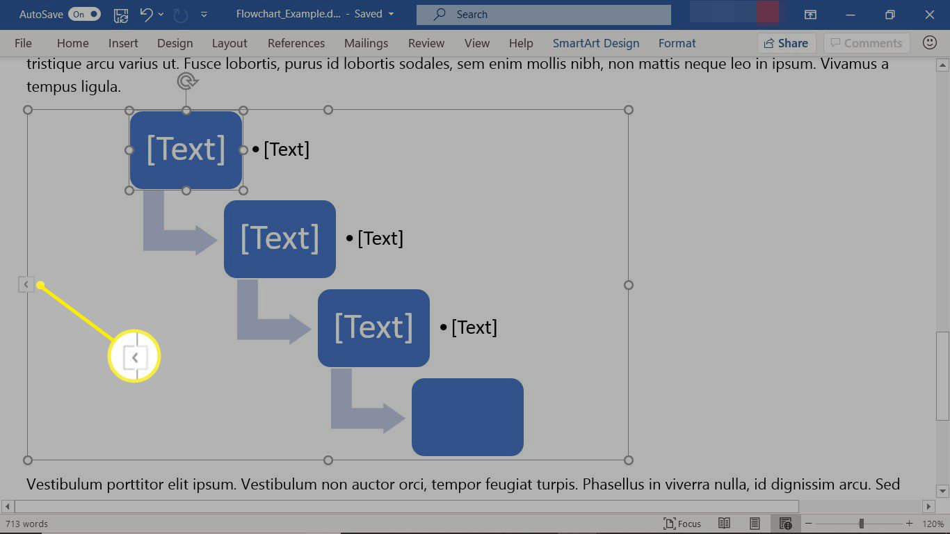 Add text to a SmartArt graphic flowchart in Word