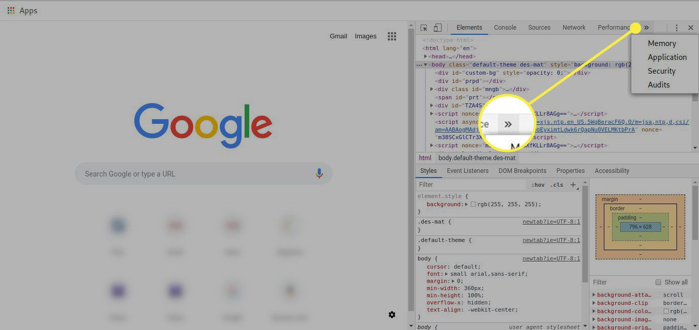 A screenshot of Chrome's developer tools with the More menu button highlighted