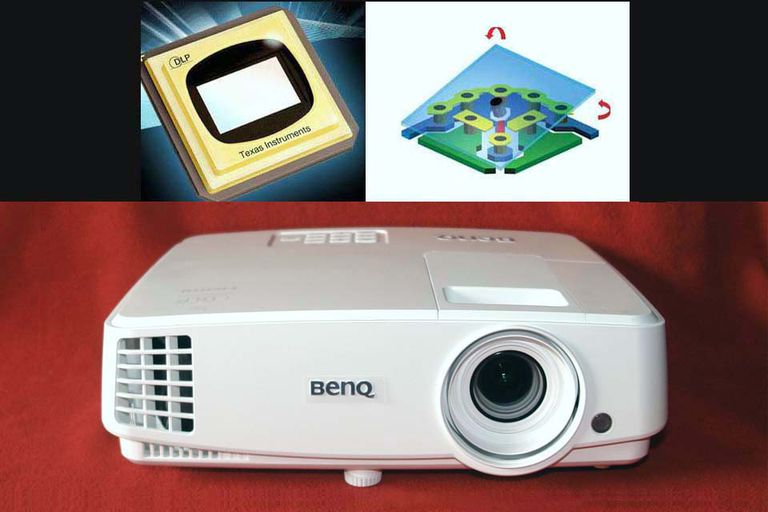 Image of DLP DMD Chip (top left), DMD Micromirror (top righht), Benq MH530 DLP Projector (bottom)