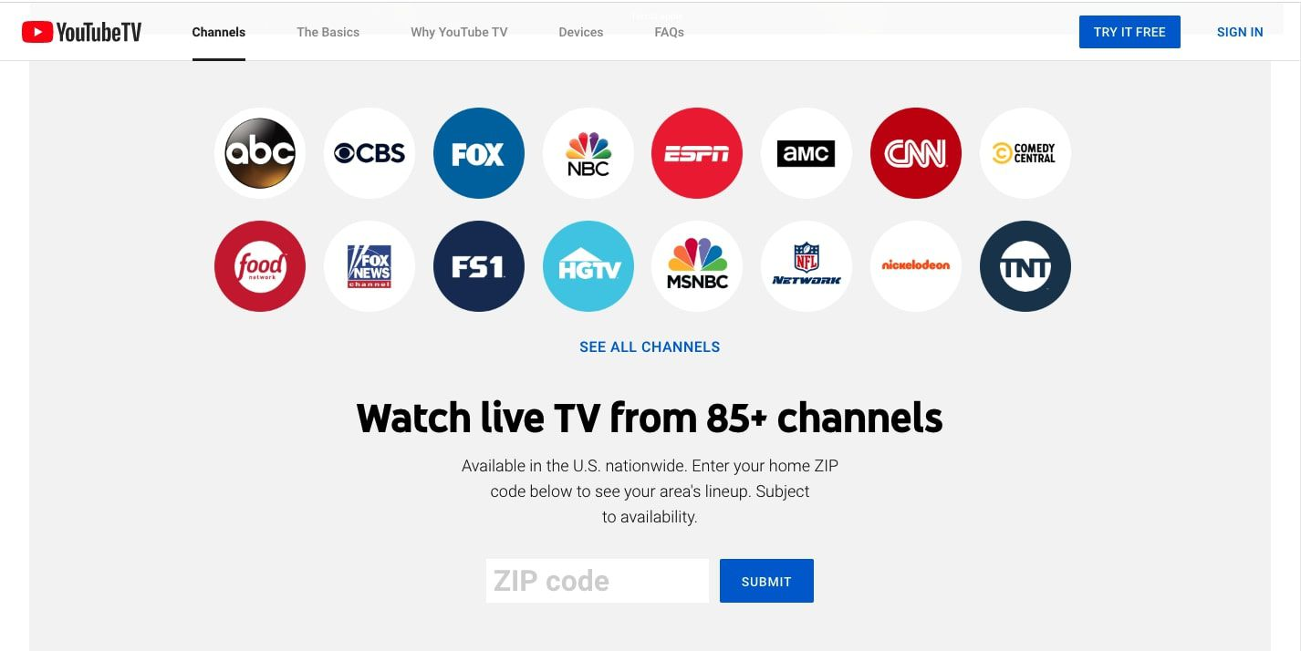 Channel list on the YouTube TV website