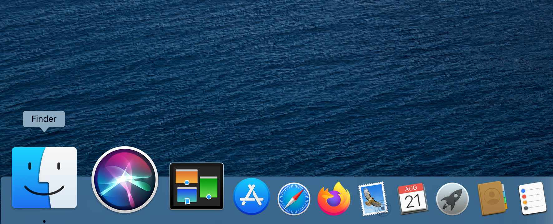 The Finder icon in the macOS Catalina Dock
