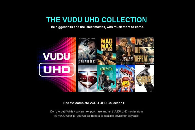 Vudu 4K UHD Streaming Spotlight Page
