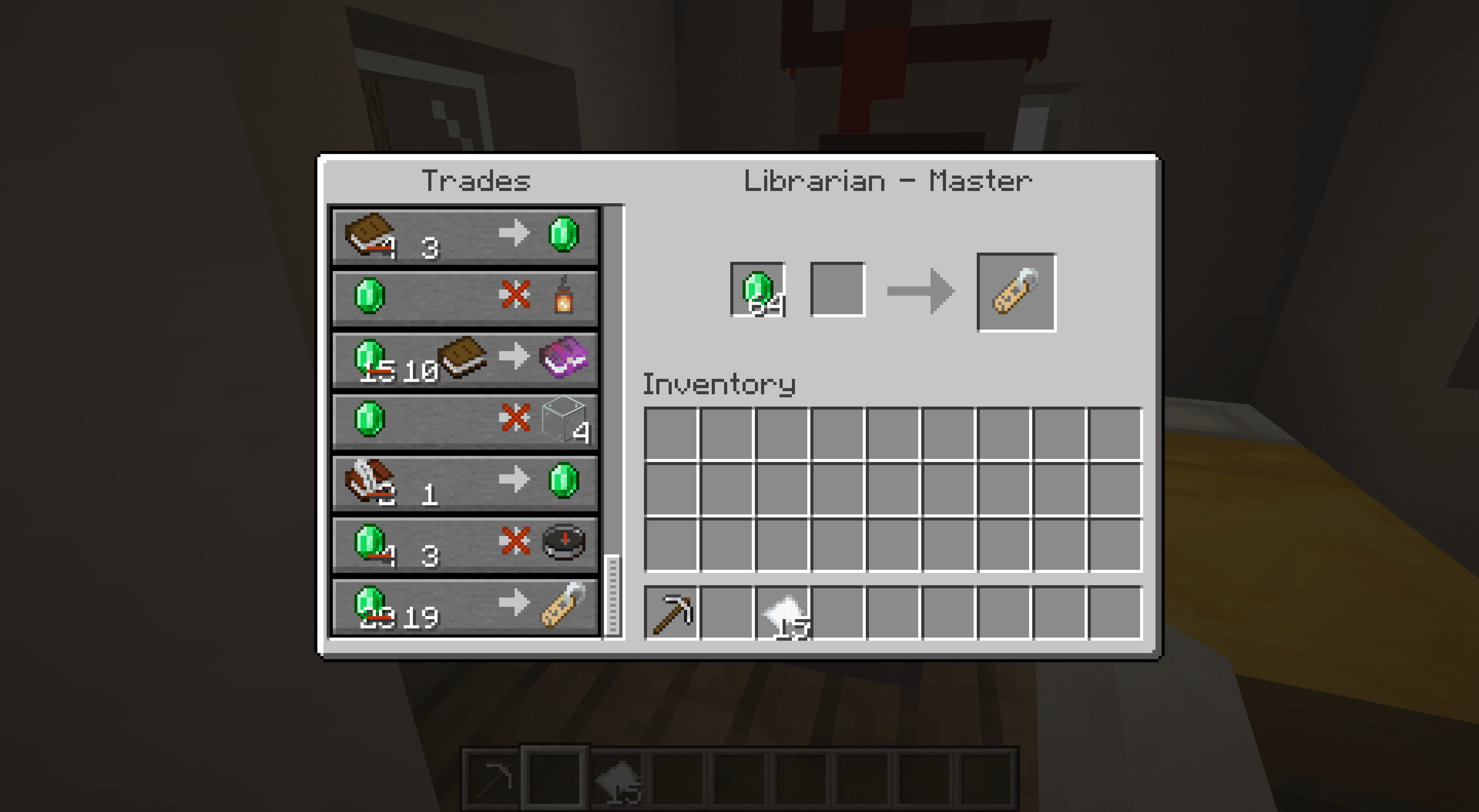 Trading a master librarian for a name tag in Minecraft.
