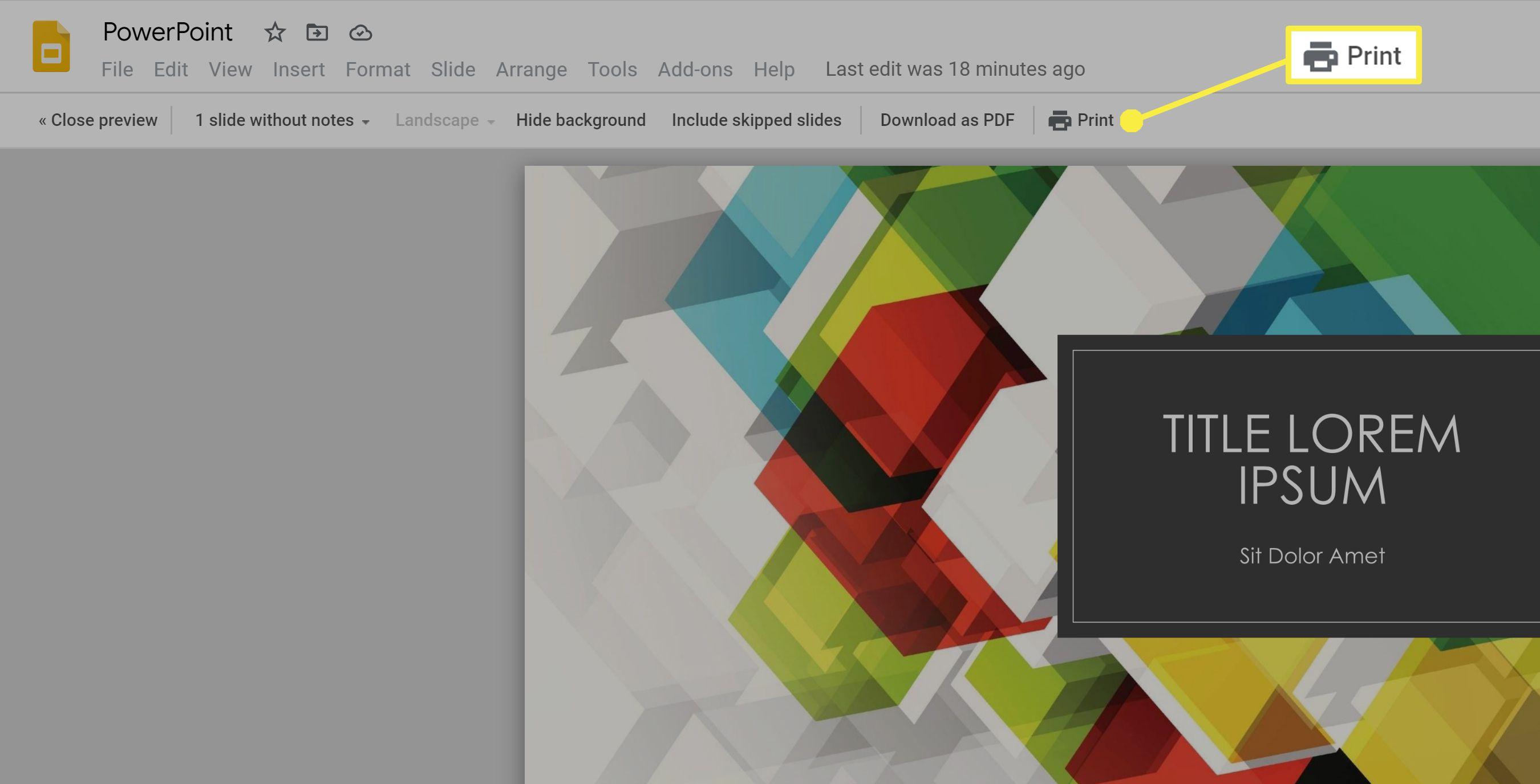 Printing speakers notes in Google Slides.