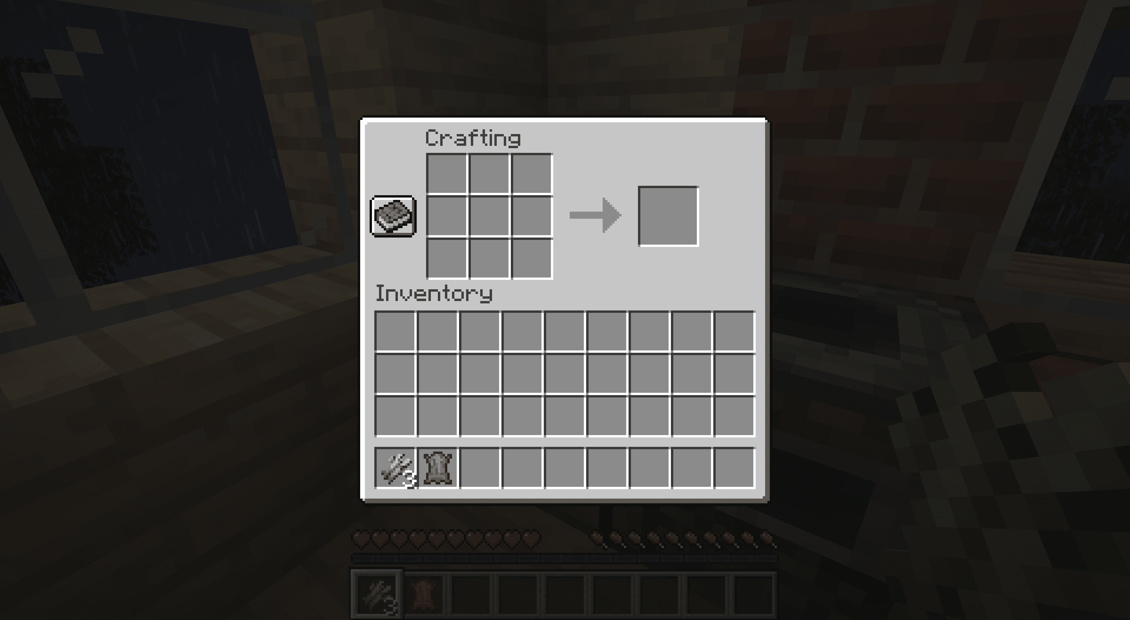 The crafting table interface in Minecraft.