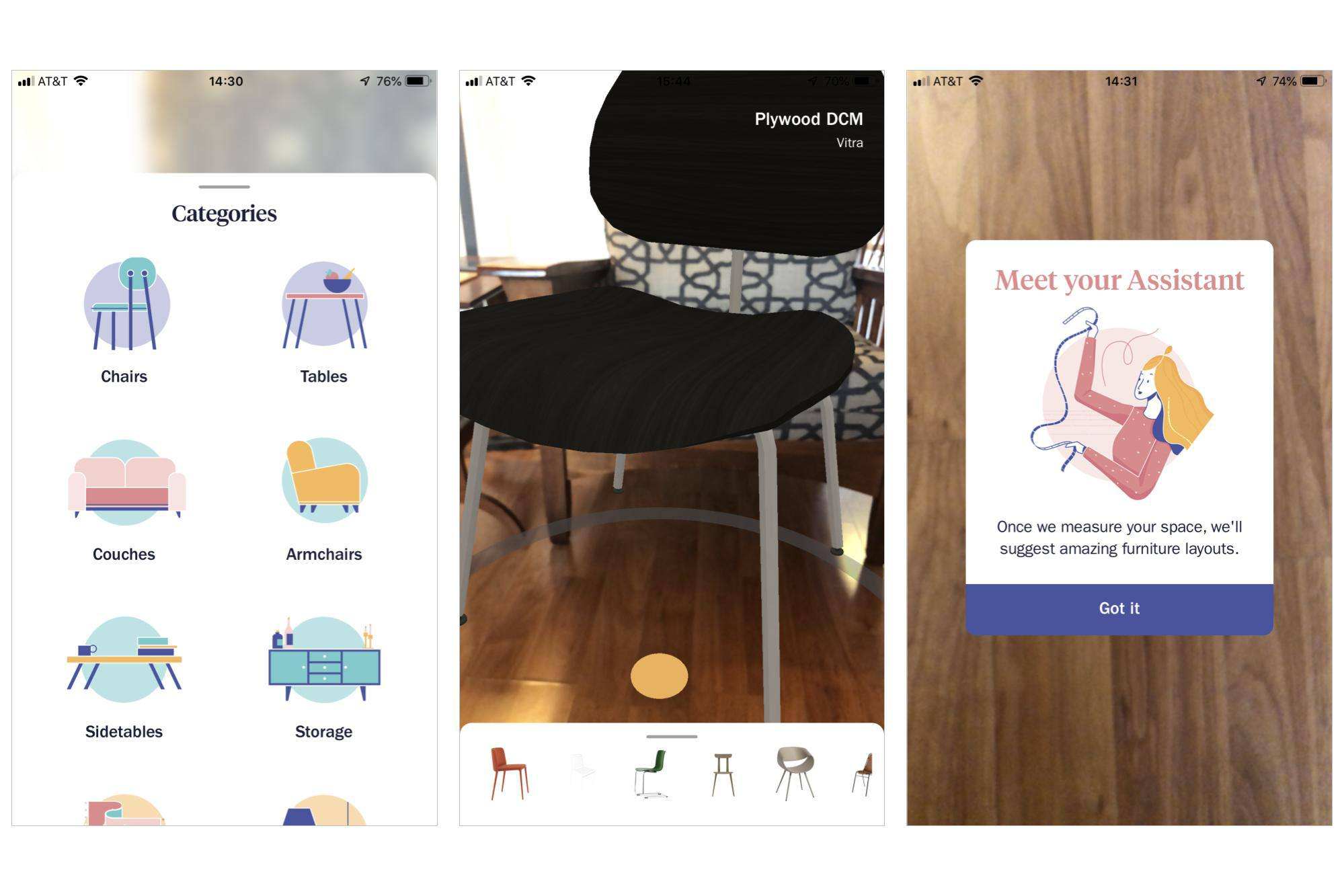 3 screenshots: Showing categories (chairs, couches, etc.); Virtual chair placed in room, with others at bottom of screen; Welcome screen for Assistant, which auto-places sample furniture after you scan the room