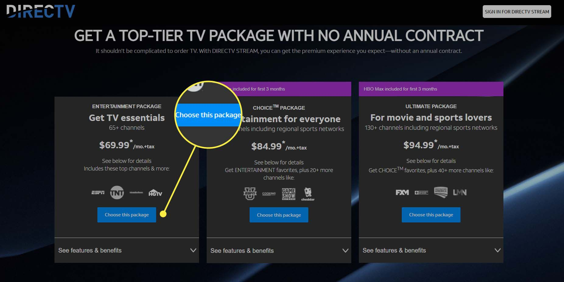 The DirecTV Stream website with 'Choose a package' highlighted