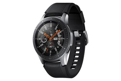 Samsung Galaxy Watch with silver body and black strap in size 46mm