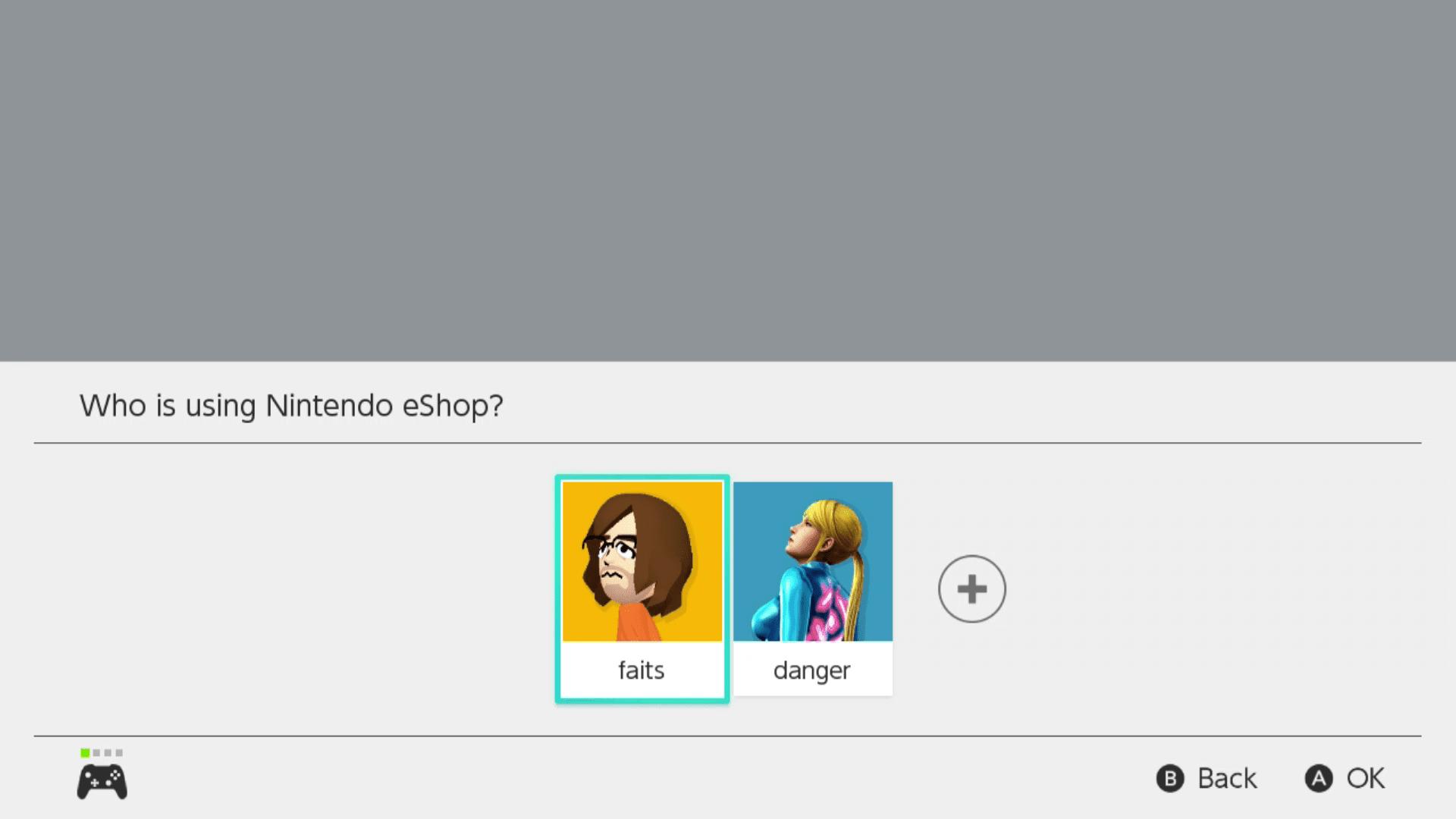Profile selection for the Nintendo eShop.