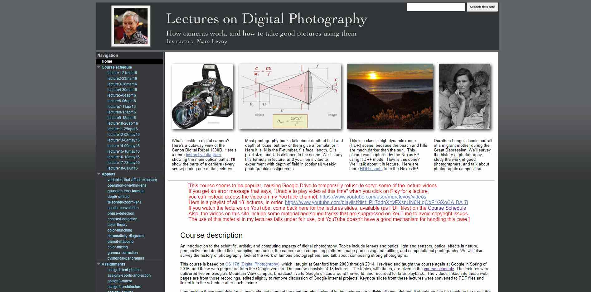 The Lectures on Digital Photography class page.