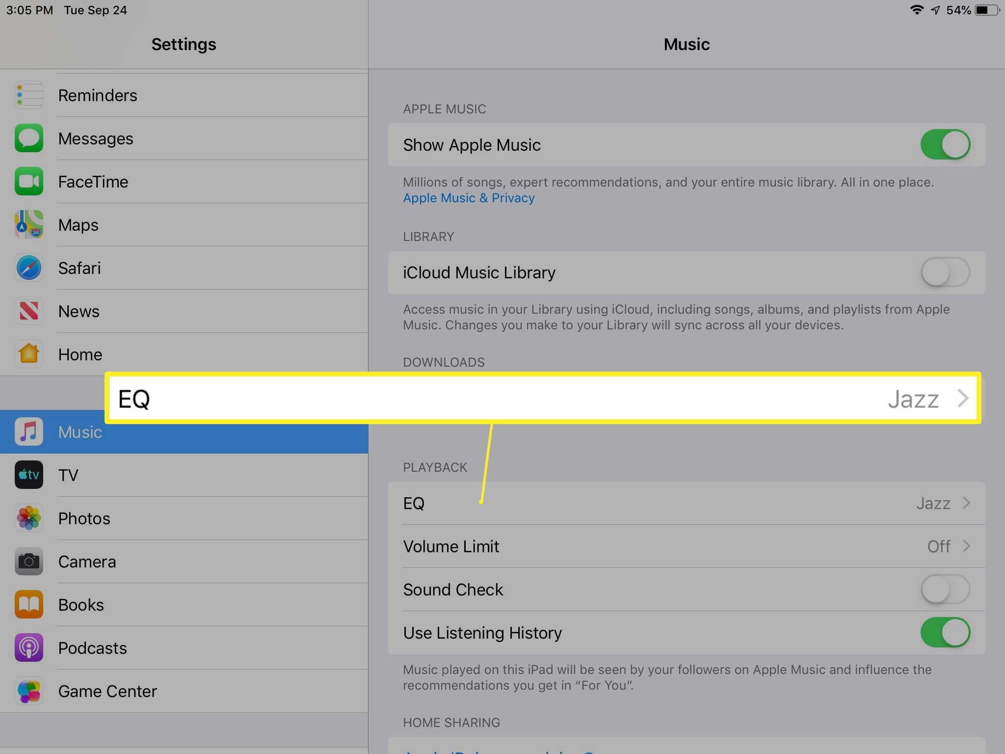 EQ setting on iPad