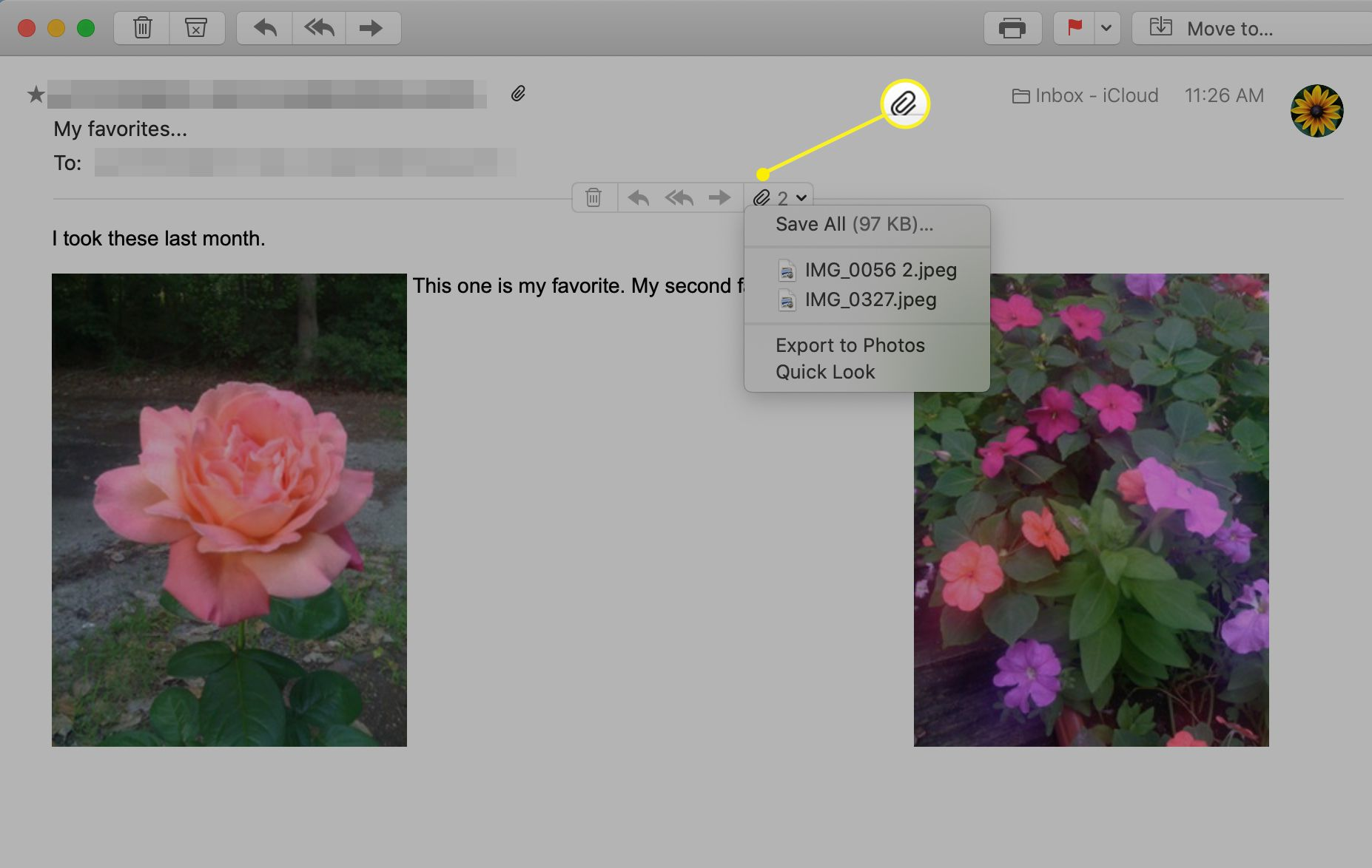 The paperclip selected on the Apple Mail action bar