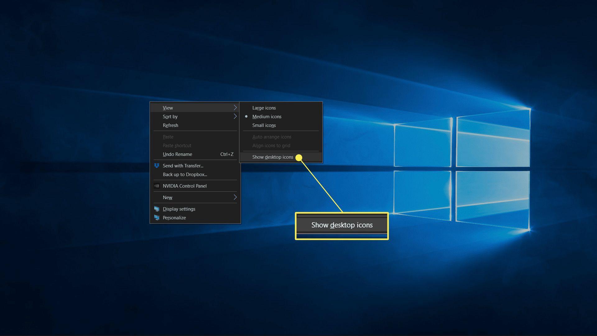 Show desktop icons highlighted in the desktop context menu.
