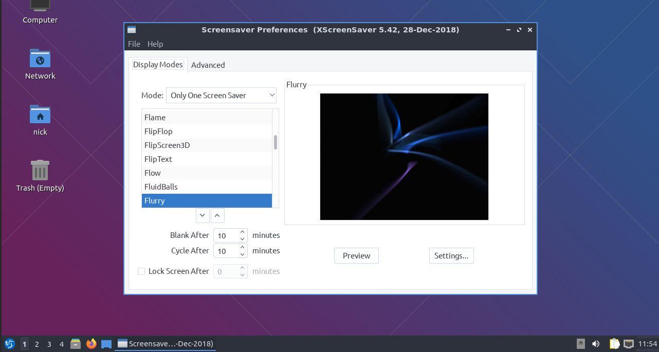 Lubuntu screensaver settings