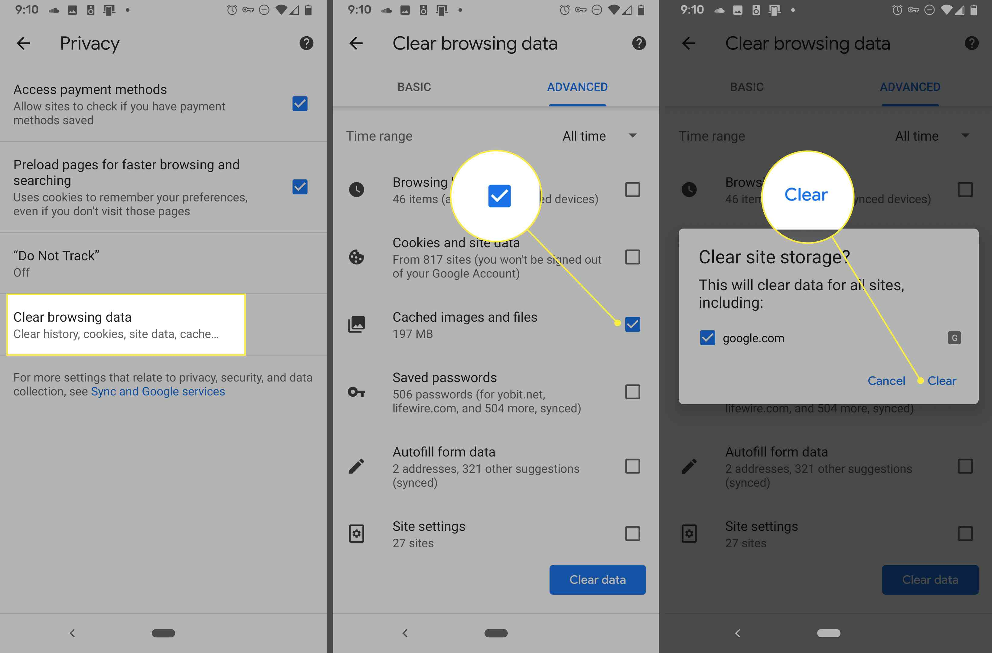 Screenshots of Chrome for Android showing how to delete browsing data