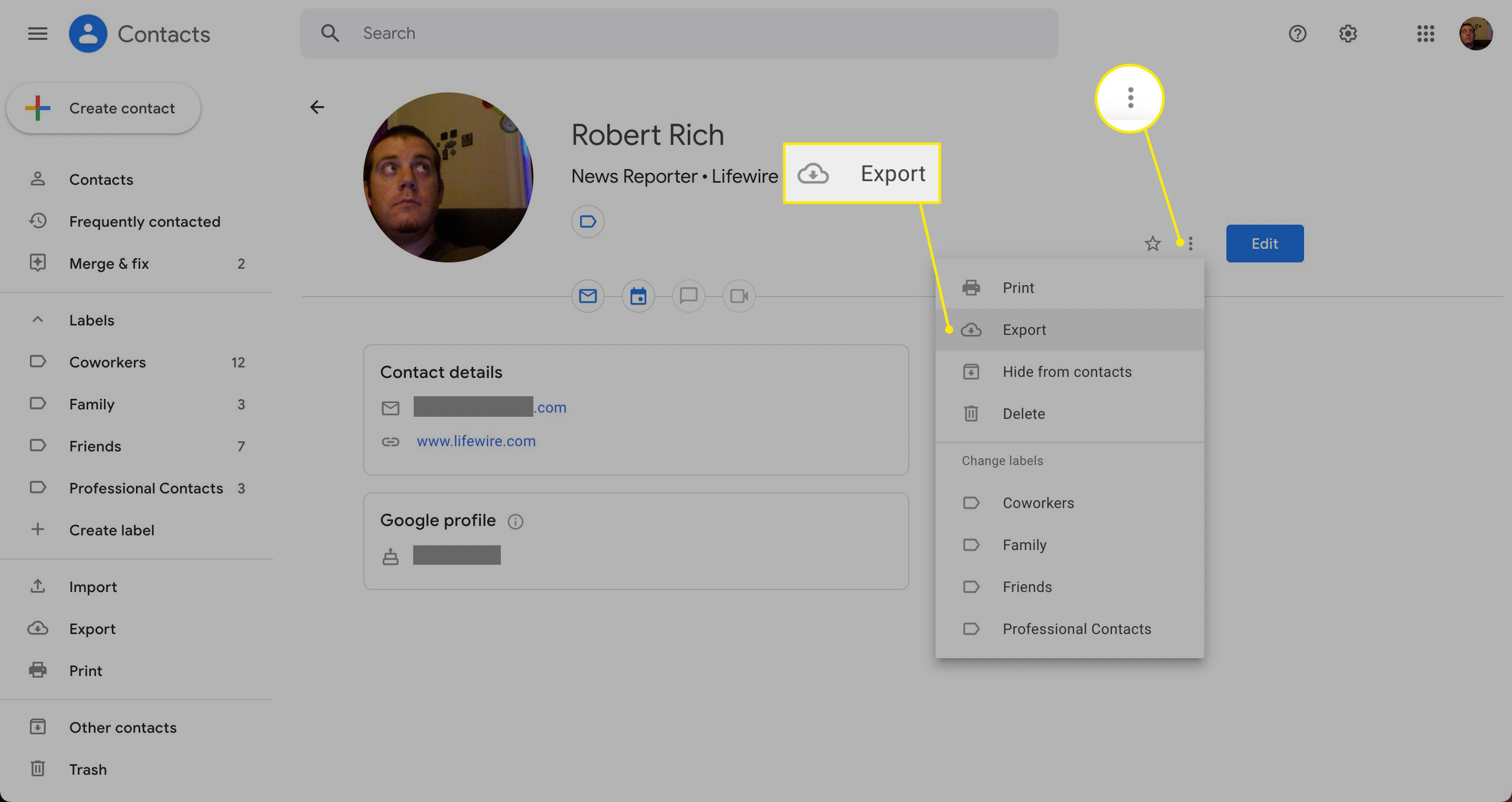 Three dot menu and Export highlighted in Gmail contacts