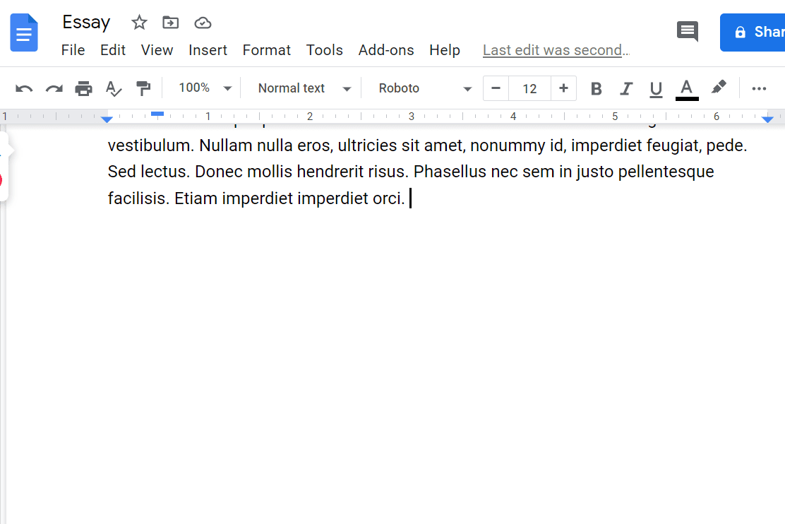 Screenshot of the start of a page break in Google Docs