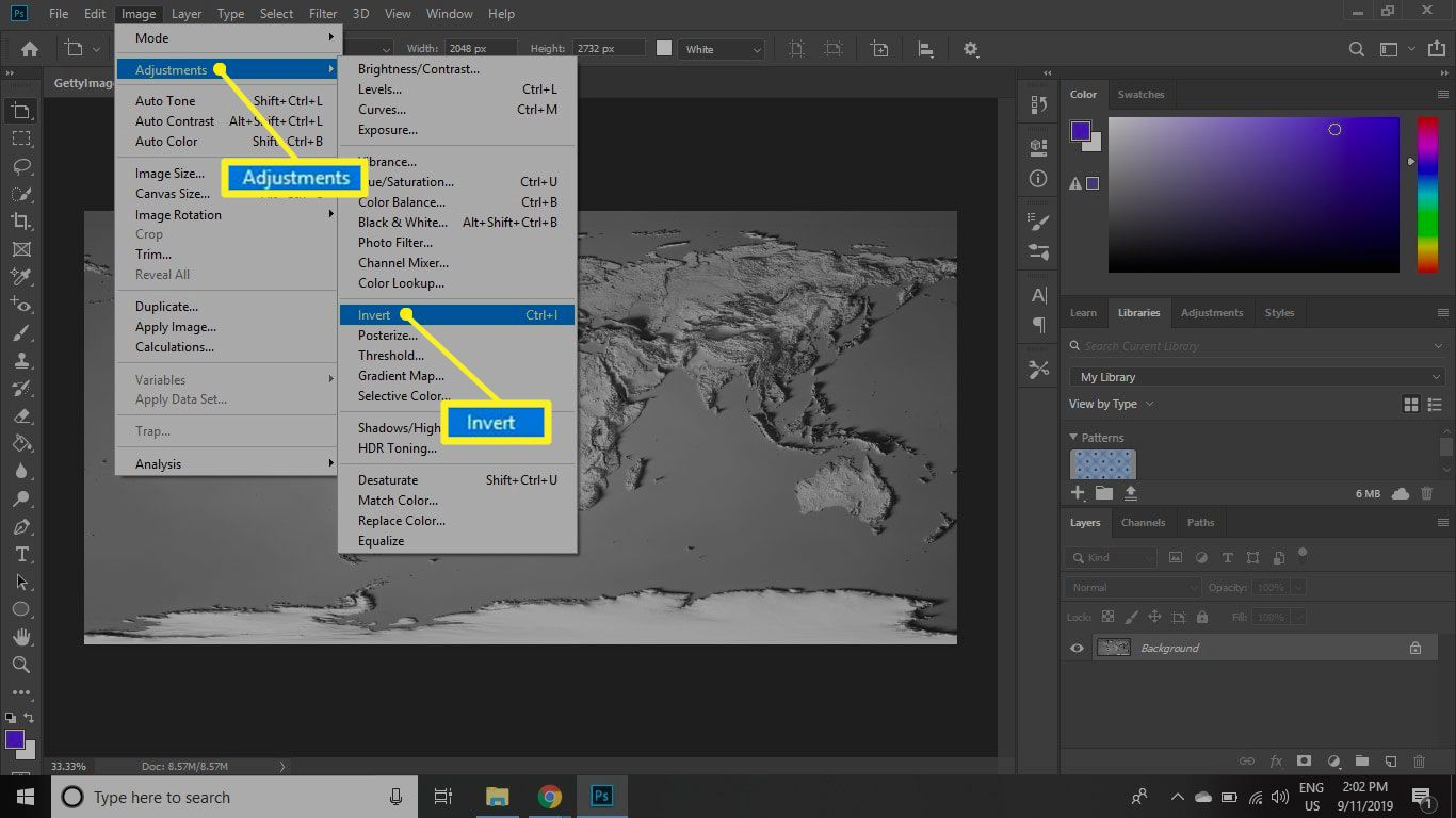 Photoshop Image menu with Adjustments and Invert selected