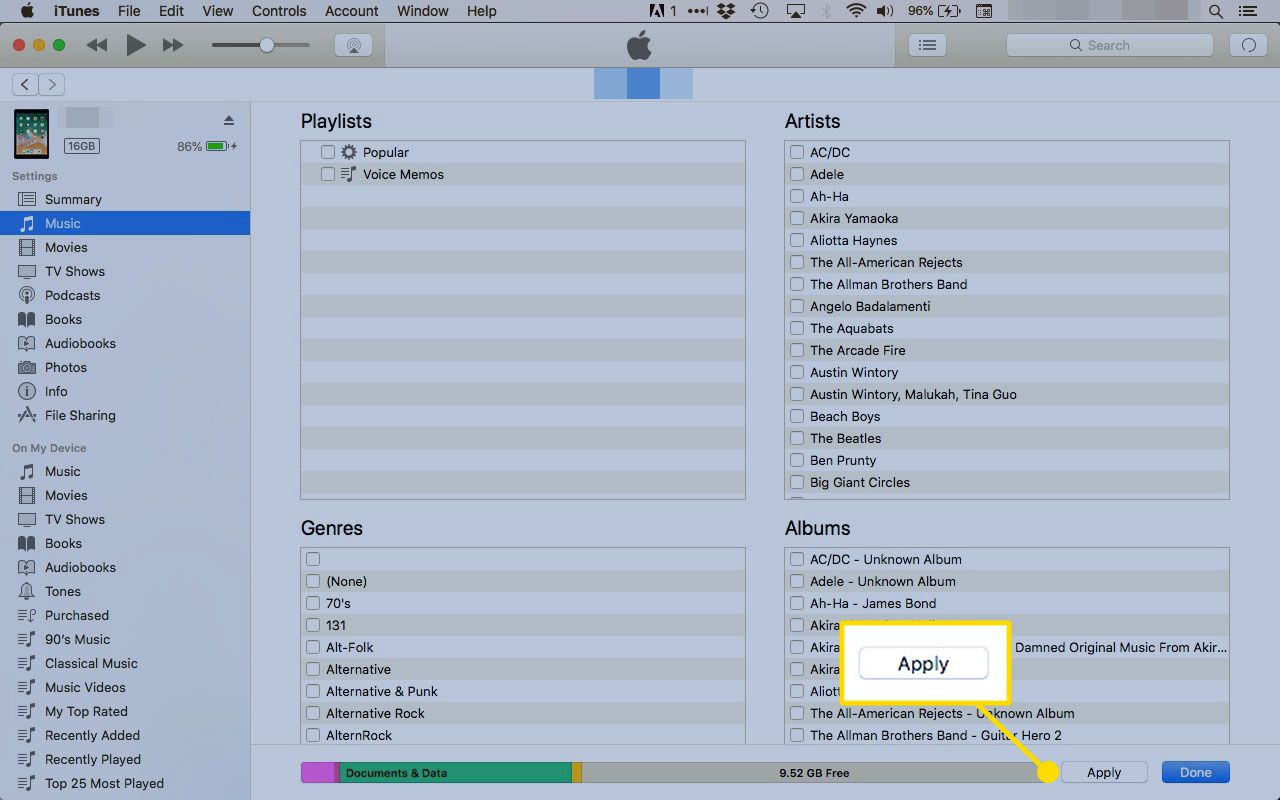 Apply button in iTunes