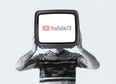 A person with a TV for a head displaying the YouTube TV logo